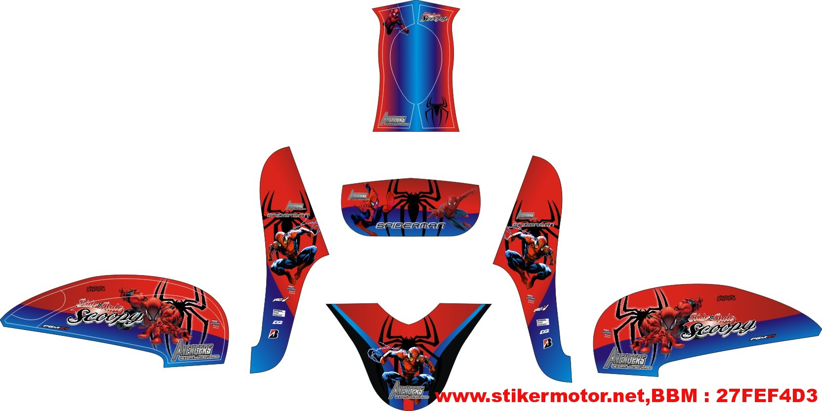 striping motor SCOOPY FI spiderman