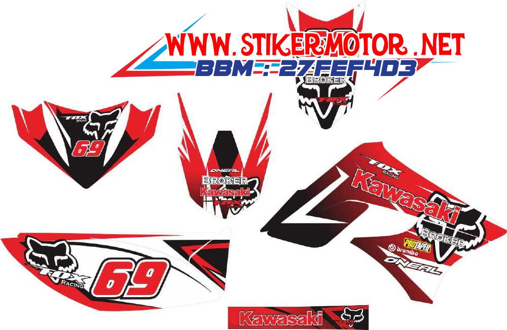 striping motor klx monster FOX merah