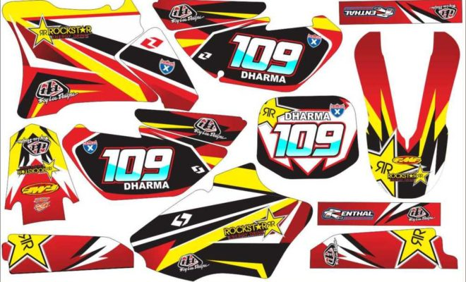 STICKER STRIPING DECAL MOTOR yz 85 rockstar RED final