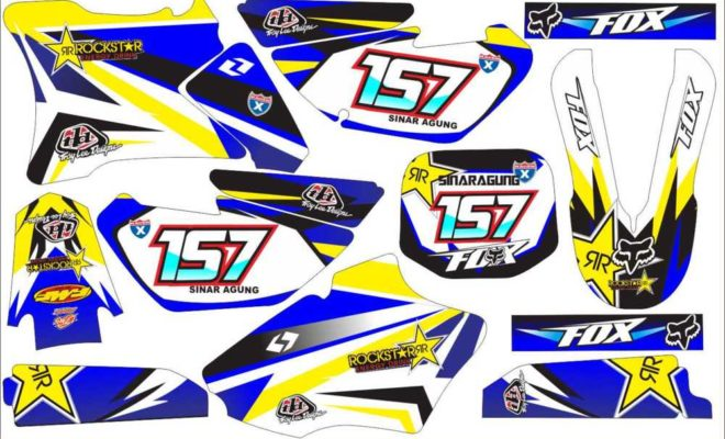 STICKER STRIPING DECAL MOTOR yz 85 rockstar fox