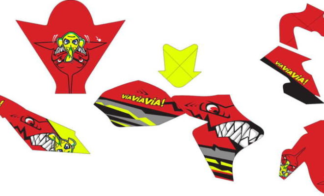 Stiker New Vixion shark red