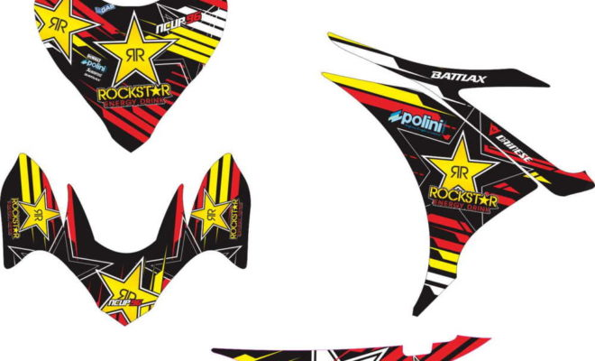 Stiker new mx rockstar red