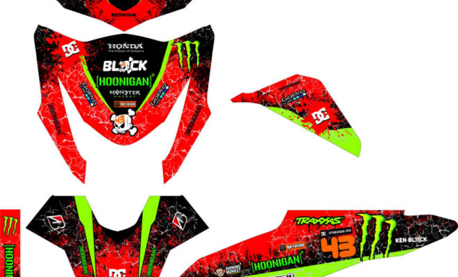 Stiker BEAT fi hoonigan monster energy merah hijau