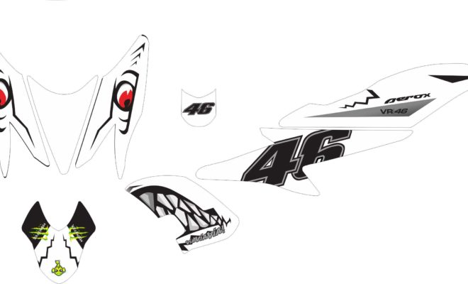 Stiker aerox 155 shark white
