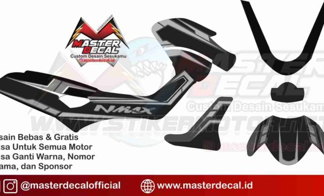 nmax black silver decal